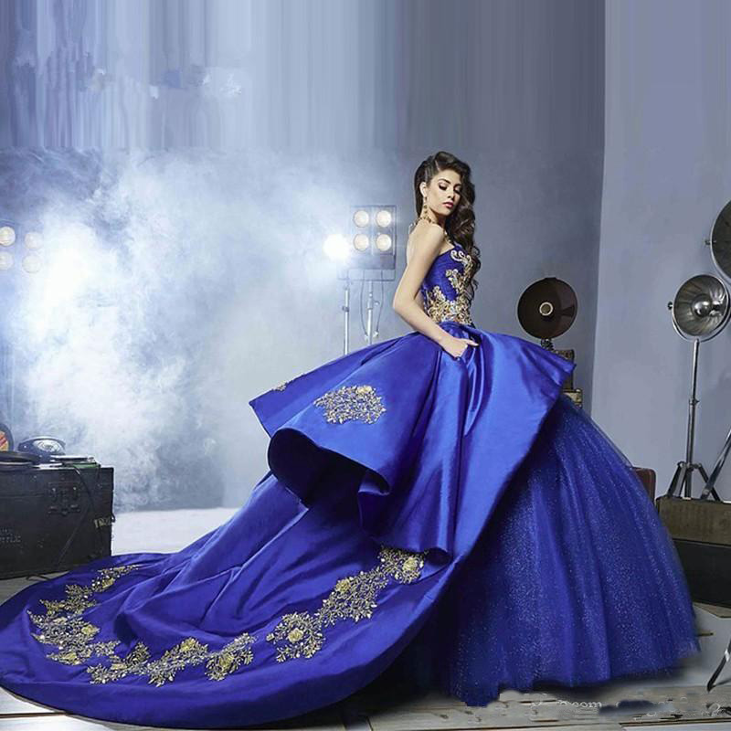 Luxury Royal Blue Gold Embroidery Quinceanera Dresses with ...