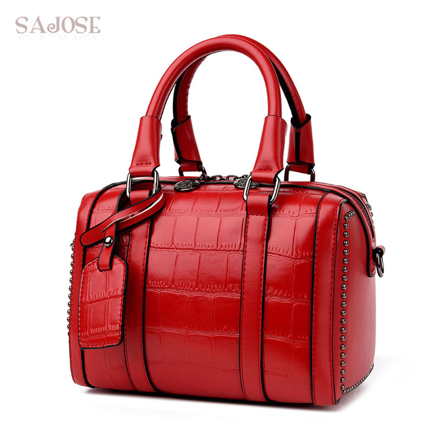 SAJOSE Female Hand Bag Crocodile pattern Rivet Designer Messenger Shoulder Tote