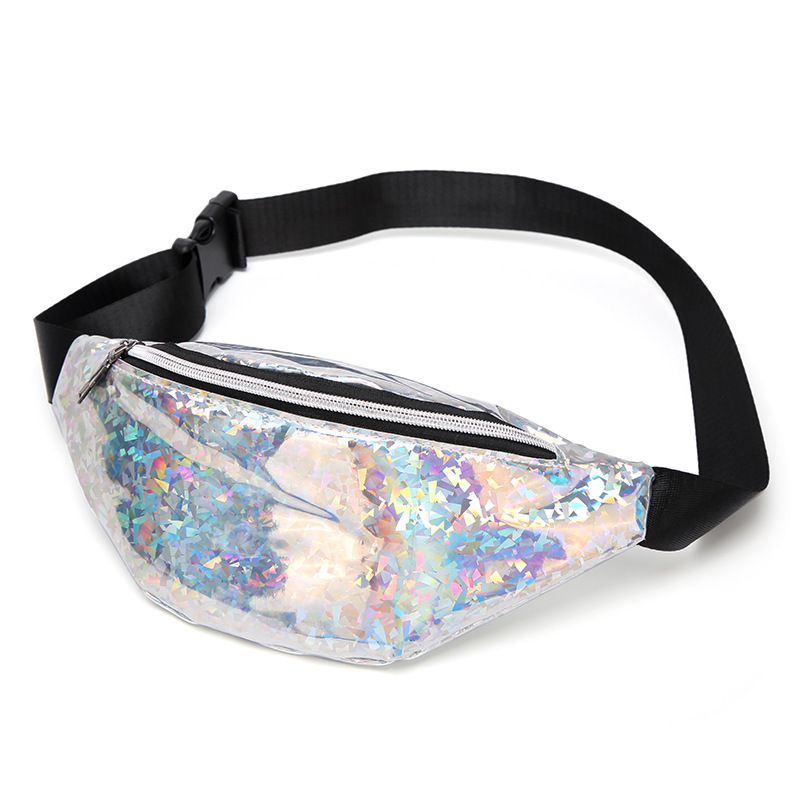 Pouch Belt-Bag Waist-Pack Geometric Holographic Travel Black Shiny Women Laser-Chest-Phone