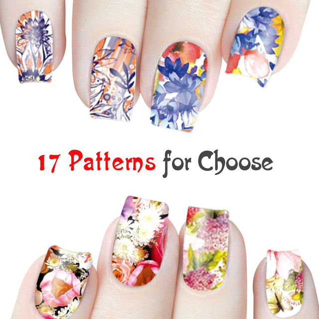 Floral Fairy Nail Stickers Flowers Full Nail Water Decals Sticker