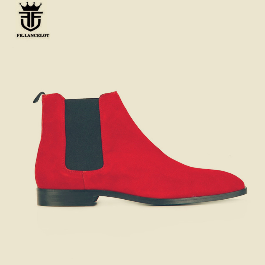 Real Picture Handmade Slip On Red Nubuck Genuine Leather Ankle Chelsea Boots Luxury Personalized Exclusive Designed Martin Boots цены онлайн