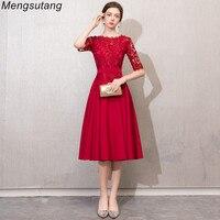 Robe de soiree New Lace Slim vestido de festa evening dress O Neck Tea Length plus size Party Prom formal dress women elegant