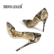 Brand Fashion Women Pumps Snake Printed Women Shoes Sexy 12CM High Heels 2018 Pointed Toe Party Women weeding shoes Woman