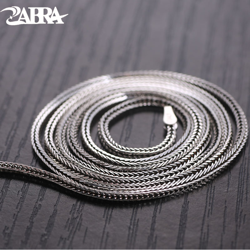 ZABRA Solid 925 Sterling Silver Fox Choker Necklace For Women Men 1mm 46/51/56/61/66cm Steampunk Vintage Sterling Silver JewelryZABRA Solid 925 Sterling Silver Fox Choker Necklace For Women Men 1mm 46/51/56/61/66cm Steampunk Vintage Sterling Silver Jewelry