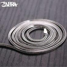 ZABRA Solid 925 Sterling Silver Fox Choker Necklace For Women Men 1mm 46/51/56/61/66cm Steampunk Vintage Sterling Silver Jewelry