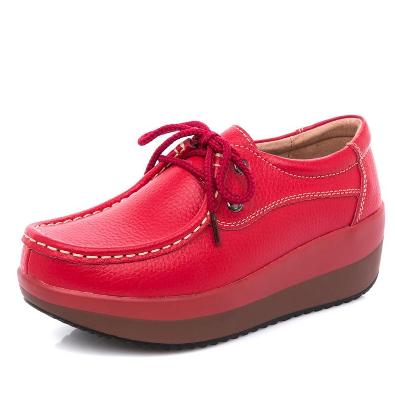 Cuir Red 2019 De En Dames 41 laceupblack Printemps Grande Plat laceupwhite black wihte Nouvelles Femmes Taille Chaussures laceupred 35 slip Non Confortable Décontractées Respirant IU7XUrq