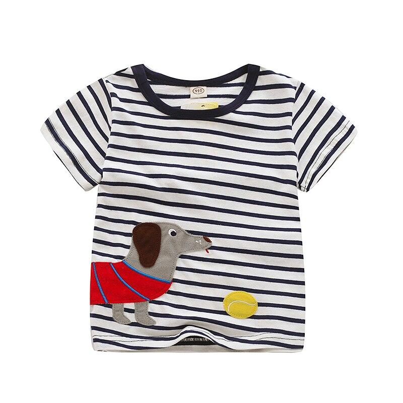 V-TREE; летние рубашки для мальчиков; хлопковые детские футболки; цветные топы для девочек; детская блузка с короткими рукавами; футболки для малышей; одежда для малышей - Цвет: blue dog