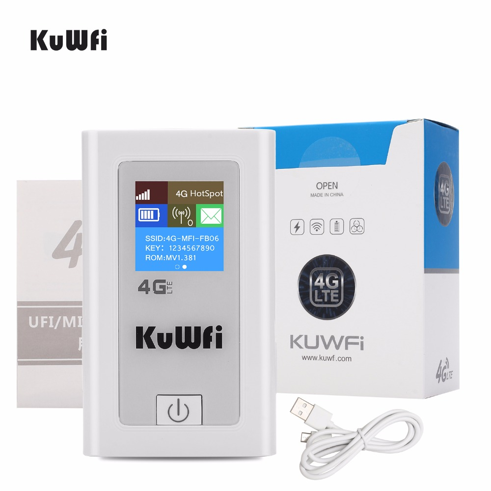 KuWFi Unlocked 4G Wifi Router 3G 4G Lte Wireless Hotspot Mifi Dongle Car Wi-fi Router With Sim Card Slot 5200MAh Power Bank 4g wifi router unlocked 3g 4g lte travel router 5200mah power bank fdd lte car wifi router with sim card slot up to 10 users