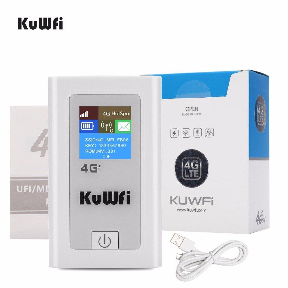 KuWFi débloqué 4G Wifi routeur 3G 4G Lte sans fil Hotspot Mifi Dongle voiture Wifi routeur avec fente pour carte Sim 5200 MAh batterie externe