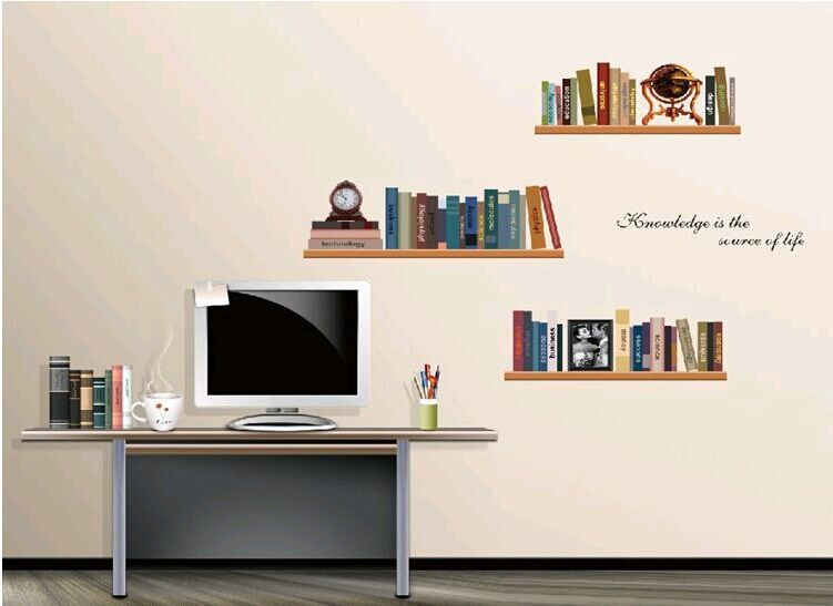 AY743 Fake Bookshelf Wall Stickers Art Decor Decal For Bedrooms In From Home Garden On