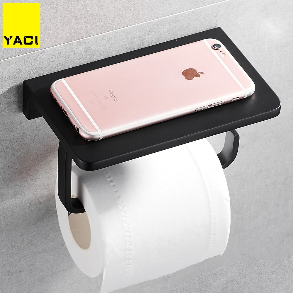 YACI Aluminum Bathroom Paper Phone Holder with Shelf Bathroom Mobile Phones Towel Rack Toilet Paper Holder Black Tissue BoxesYACI Aluminum Bathroom Paper Phone Holder with Shelf Bathroom Mobile Phones Towel Rack Toilet Paper Holder Black Tissue Boxes