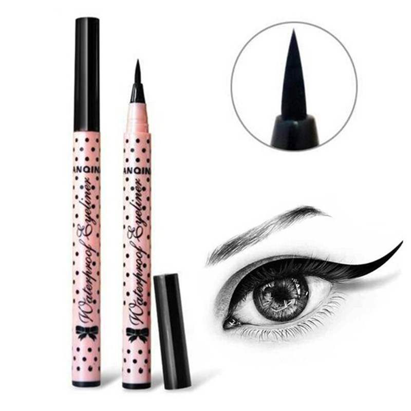 Ultimate 1 Pcs Black Long Lasting Eye Liner Pencil Waterproof Eyeliner Smudge-Proof Cosmetic Beauty Makeup Liquid Pink Dots
