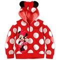2017 bebé clothing niños prendas de vestir exteriores muchachas del muchacho del suéter sudaderas con capucha de mickey minnie sudaderas ratón de dibujos animados top kids, envío libre