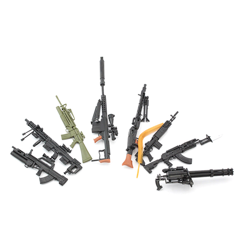8pcs Plastic Gun Models for 12''Soldier Action Figures AK74 AK47 Gatlin Rifle Models Toys   Gifts Collections штык нож ak 74 мастер к