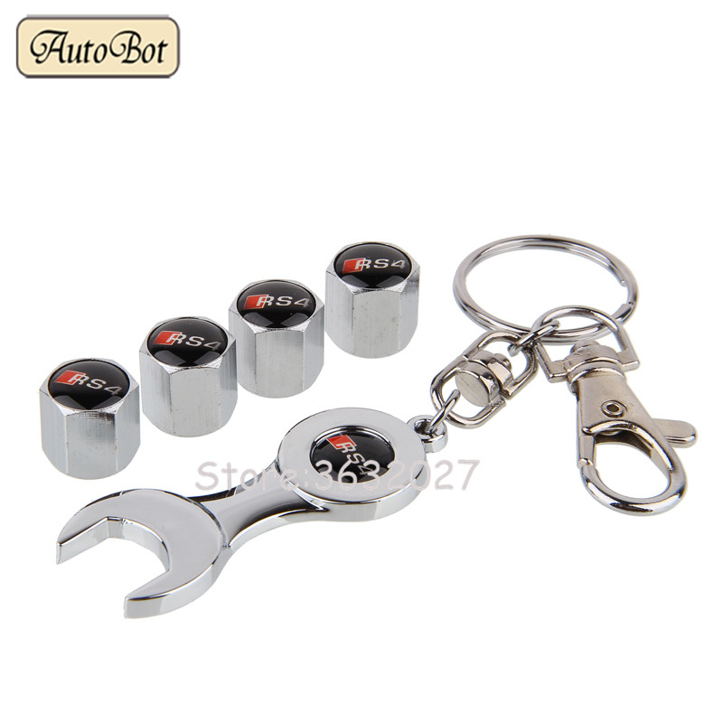 RS4 Logo Tire Valve Caps With Wrench Fit For Audi A4 B6 A6 C5 A4 B8 RS3 RS4 RS5 RS6 RS7 A4 B5 A6 C6 A4 B7 S7 S8 A3 A4L A5 A6L
