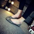 Hot 2016 Autumn New Arrival European American Snakeskin PU Flat Shoes Point Toe Casual Flats  Elegant Comfortable Shoes C012