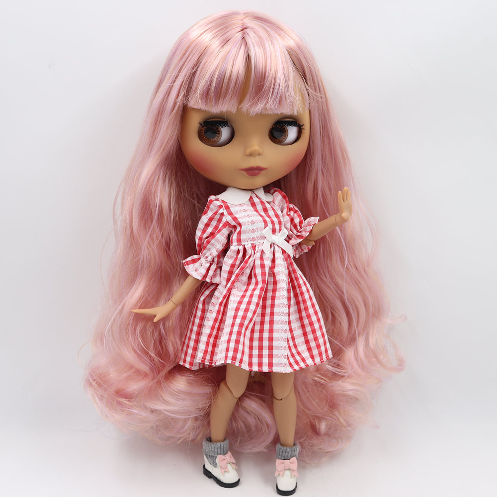 ICY Nude Blyth Doll No BL2240 7008 Pink mix Purple hair Black Matte face Joint body