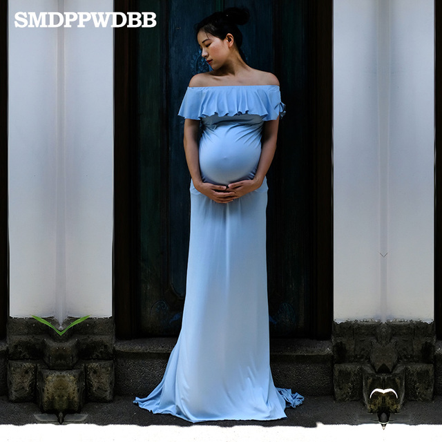 d3a09bcdfcd SMDPPWDBB Maternity Dresses Maternity Photography Props Plus Size Dress  Elegant Fancy Pregnancy Photo Shoot Women Long Dress