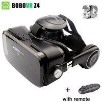 BOBOVR Z4 VR עור תיבת קרטון קסדת מציאות מדומה VR סטריאו אוזניות משקפיים 3D עבור Smartphone + bluetooth בקר