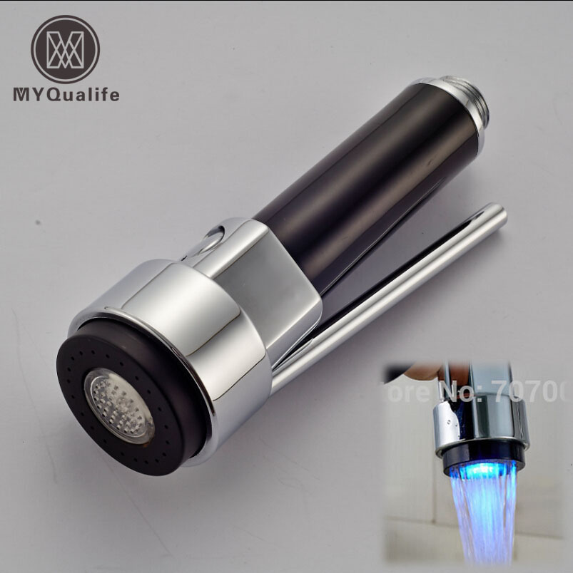 Free Shipping Kitchen Faucet Pull-Out Spray Head Replacement Spout with LED Light Chrome Finish