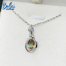 Bolai Color Changing Nano Diaspore Leaf Pendant Necklace Genuine 925 Sterling Silver Stone Fine Jewelry For Women Girls Gift