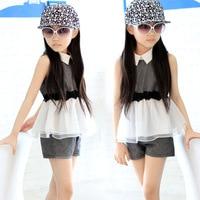 Nuovo Modello di Personalità Tuta Bambino Usura di Estate Della Ragazza Comune Split Twinset Vestito Dei Bambini Indumento dei bambini Due Pezzi Per Bambini Sets