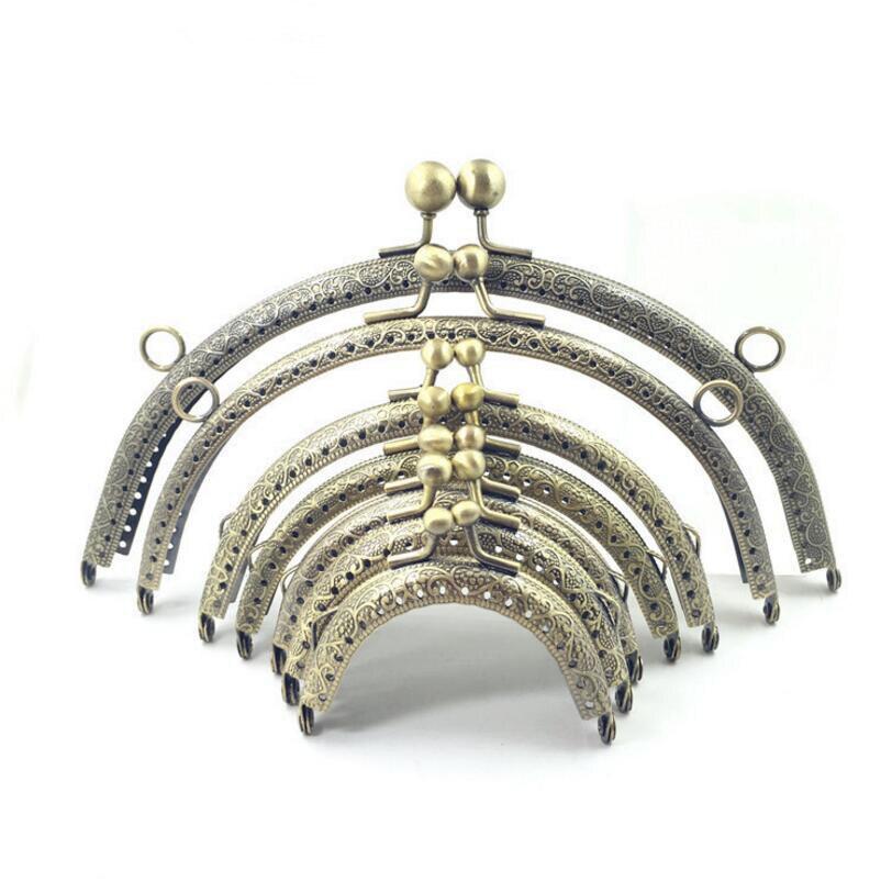10pc 6.5 7.5 8.5 10.5 12.5 15 16.5 20cm Metal Buckle for Bag DIY handmade Metal Purse Frame with Kiss Lock wedding clutch frame