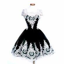 Лидер продаж черные готические винтажные кружевные Клубные платья с вышивкой