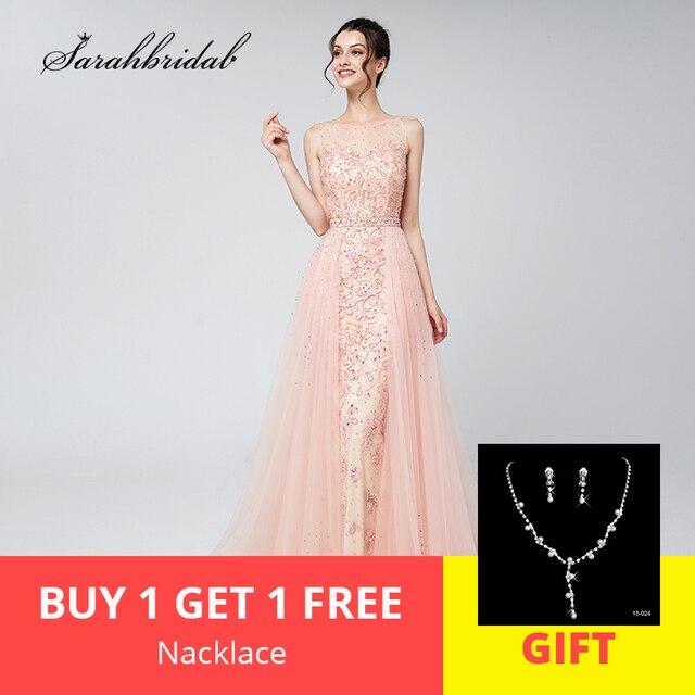 גלימת דה Soiree חדש עזיבות ארוך אלגנטי יוקרה סומק ערב שמלות טול ואגלי לנשף שמלות תמונות בפועל LSX576