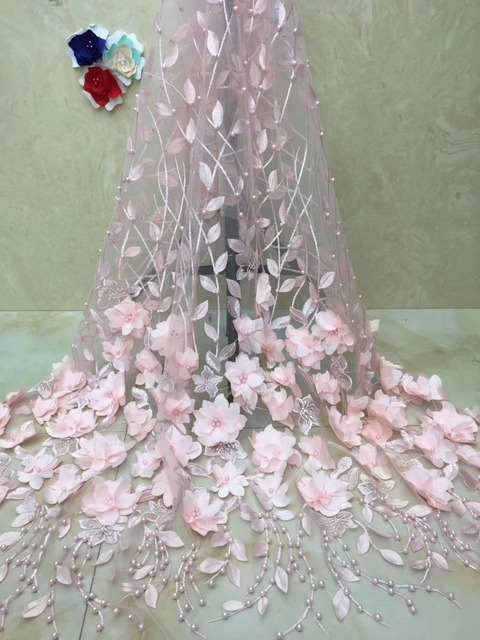 High Quality African Laces Fabrics Embroidered African Tulle French Lace Fabric With Beaded Soft Wedding Lace