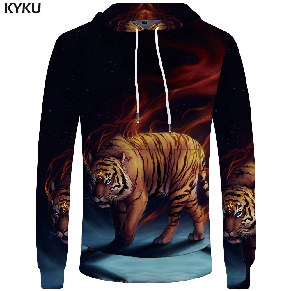 KYKU Brand Tiger Hoodies Men Flame Mens Clothing Animal 3d Hoodies Sweatshirt Big Size Sweatshirts Hoddie Hoodie New Fashion