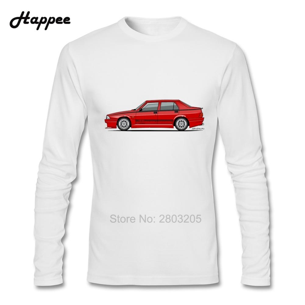 Dessin polo vetement - Personnalit Adulte Manches Longues T Shirt Alfa Romeo 75 Milano Turbo Evoluzione Rosso V Tements