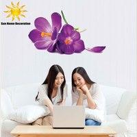 DIY Big Size 3d Purple Flower Wall Sticker Removable Home Art Decor Wall Stickers Mural Girl