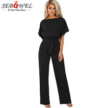 SEBOWEL Woman Short Bat Sleeve Wide Leg Jumpsuits with Belted Summer 2019 Office Lady Casual Long Blue/Black Rompers Jumpsuit
