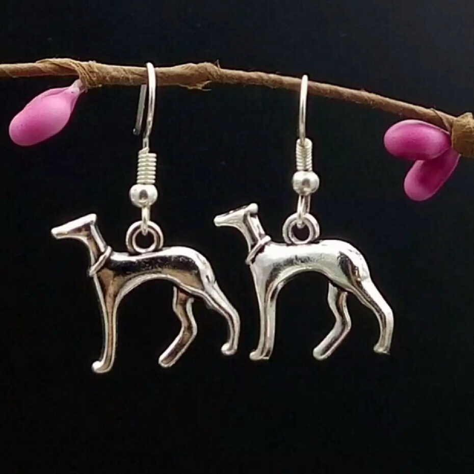 Hot !! - Fashion Jewelry Earrings - Cute Greyhound Dog - Charm Pendant - Silver - a gift for woman - 40 pairs-3