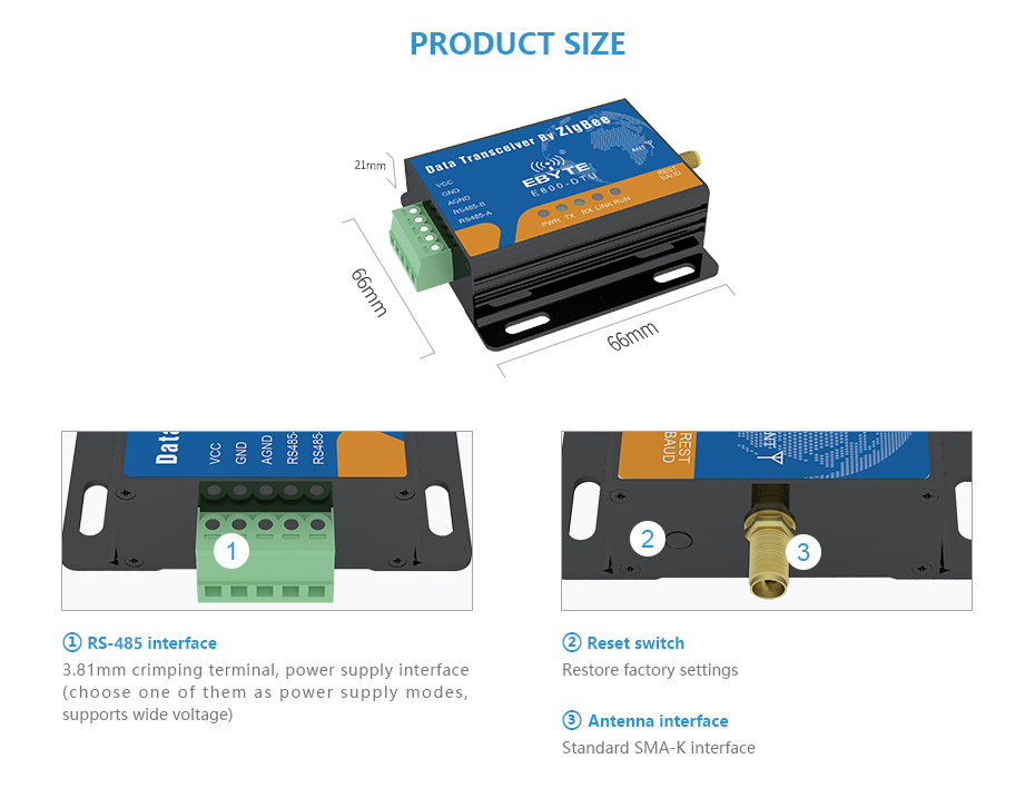 E800-DTU(Z2530-485-27) Zigbee CC2530 RS485 Transceiver (4)