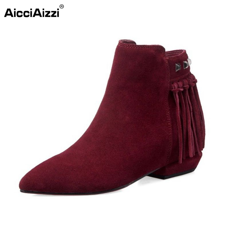 Women Real Leather Pointed Toe Ankle Boots Autumn Winter Woman Flat Botas Brand Tassel Zipper Footwear Shoes Size 33-43 nikbea handmade genuine leather western boots cowboy large size women pointed toe boots 2016 autumn shoes fashion botas mujers