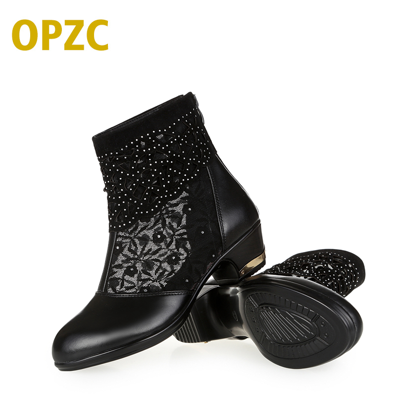 OPZC big size 41 42 43 Women's sandals 2018 new genuine leather Mesh sandals women Open-toed lace fashion shoes women aiyuqi big size women shoe 41 42 43 2018 new women s sandals genuine leather casual comfort wedges open toe roman sandals female