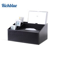 Tissue Box Multi functional Napkin Holder PU Leather Remote Controller Storage Box Desk Organizer