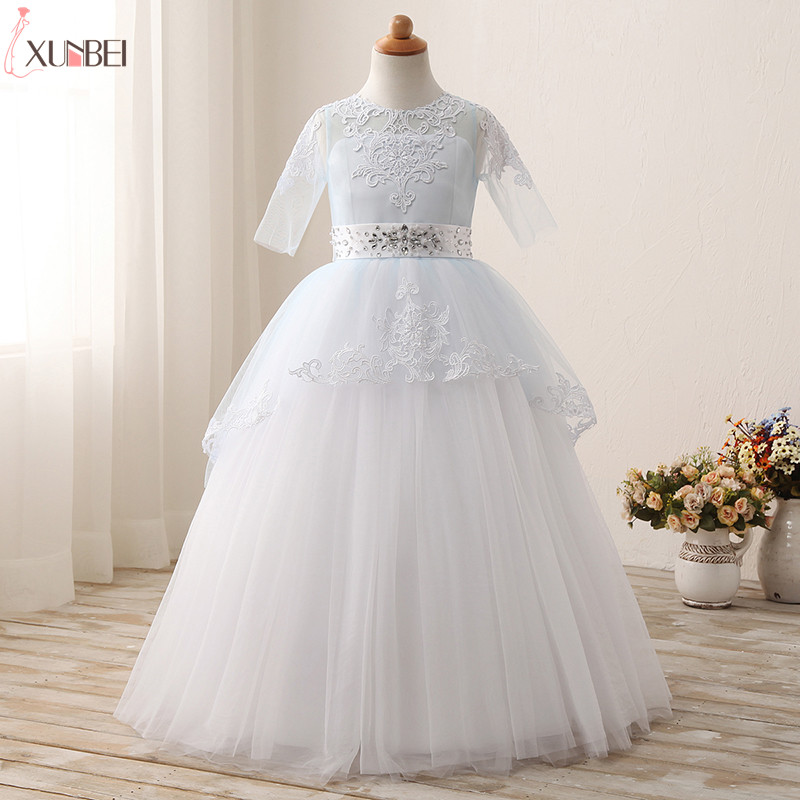 Pretty   Flower     Girl     Dresses   With Sash Half Sleeves 2019 Appliqued Crystal Pageant   Dresses   For   Girls   Lace Communion Princess   Dress