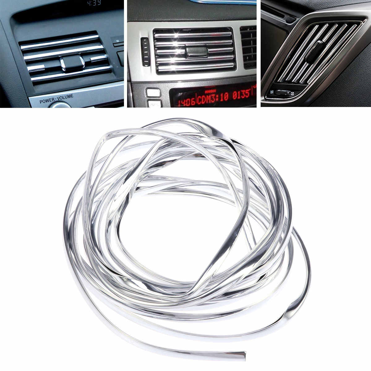 1/2/4M Car Styling Silver Car Decorative Strip U-Shaped Interior Mouldings Decorative Filler Car Door Body Protection Trim