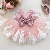 Baby Girls Clothes Girls Wedding Flower Bow Dresses Pink Bridesmaid Summer Dress Vestido Batizado Ropa Bebe