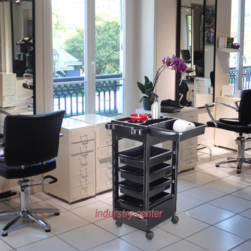 Spa Hairdresser Coloring Hair Barber Salon Trolley Rolling Storage Cart 5 Drawers Stapelboy Black Barber