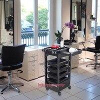 Spa Hairdresser Coloring Hair Barber Salon Trolley Rolling Storage Cart 5 drawers Stapelboy Black Barber