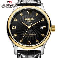 Switzerland BINGER men's watches luxury 18K gold watches Mechanical Wristwatches leather strap Wristwatches B-603M-4