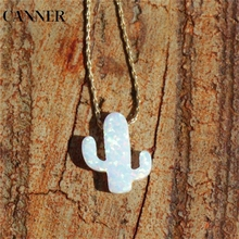 CANNER Chain Necklaces Synthetic Opal Cactus Plant Pendant white of Jewelry Necklace R4