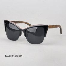 1507 free shipping plastic sunglasses with polarized lens wood temple spring hinge sunshade UVA UVB