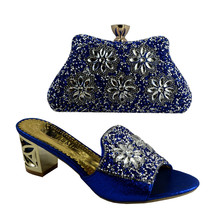 (No.1383)Italian shoes and bags to match nigeria slippers and purse with stone for party in Royal Blue