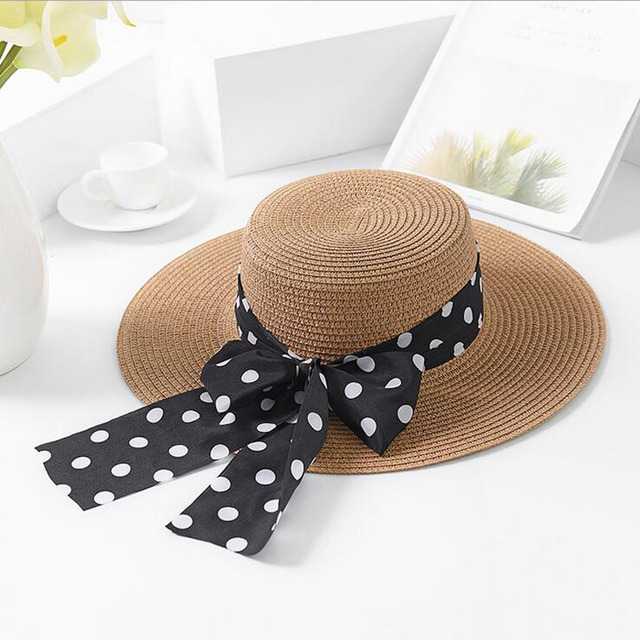 928696d75bd 2018 Summer Brand New Sun Hats For Women Boater Straw Hat Beach Hats Ribbon  Black Bow
