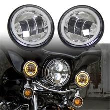 """4-1/2 """"da 4.5 pollici ha condotto le luci fendinebbia Passando Luci DRL 4.5 pollici custodia secchio per il motociclo Della Lampada Della Nebbia montaggio Luce del Giorno"""